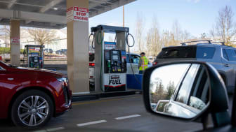 Cars being fueled at a Costco Gas Station in Oregon