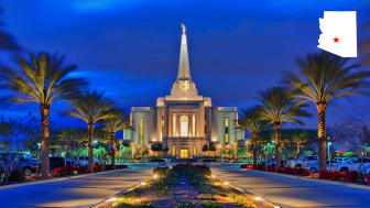 A church at night in downtown Gilbert, Ariz.